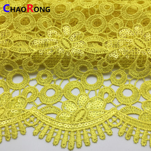 CRF0177 yellow sequin lace fabric for women dress