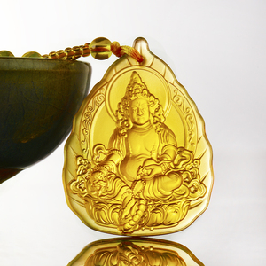 Fashion glass yellow forturn god buddha pendant bead necklace charms