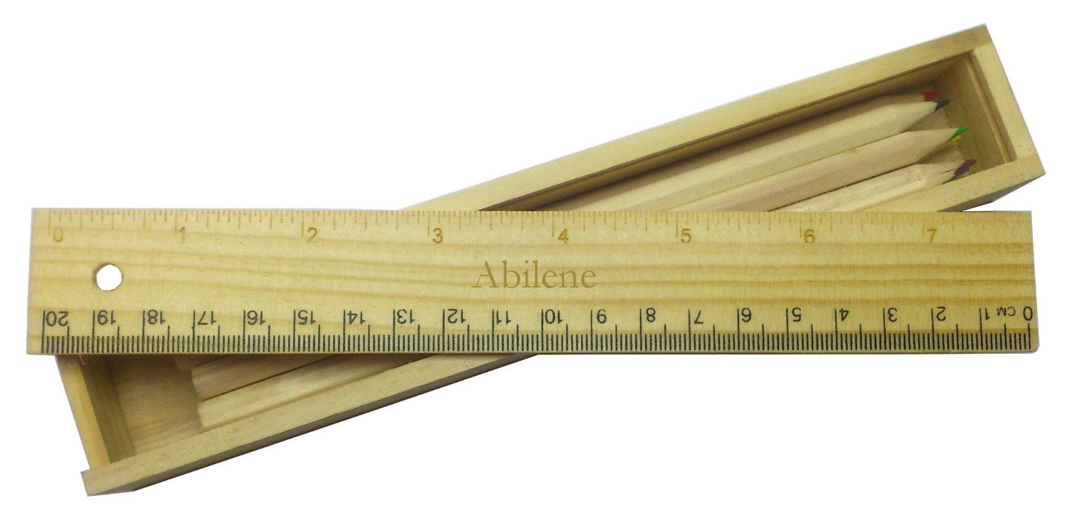 Coloured pencil set with engraved wooden ruler with name Abilene (first name/surname/nickname)