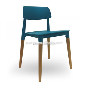 Plastic base jiont wood legs stackable dining chair home furniture