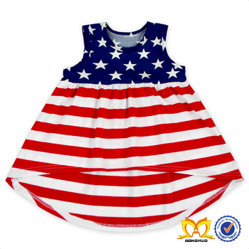 5a807ce87 Red Fringe Navy Star 4th Of July Children Summer Sleeveless Dress Wholesale Baby  Girl Cotton Patriotic