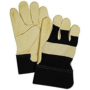 "KINCO INTERNATIONAL TB524ETM Supple Grain Pigskin Leather Palm & Thumb Glove, Medium, Black & Tan, Wing Thumb, 2-1/2"" Safety Cuff."