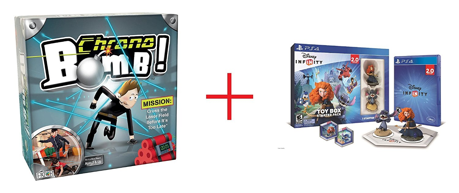 Chrono Bomb? Game and Disney Infinity (2.0 Edition) Toy Box Starter Pack featuring Disney Originals for Sony PS4 - Bundle