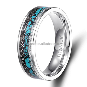 Newest Fashion Womens Wedding Bands Titanium Rings Turquoise Imitated Meteorite Inlaid