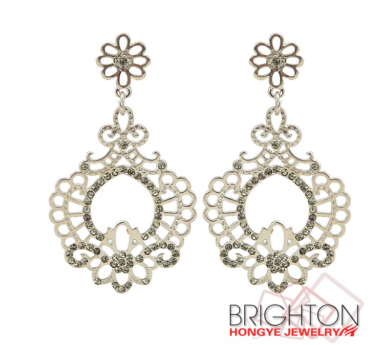 Fashion Metal Parts With Rhinestone Earrings E1-34021