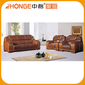 Simplicity Wood Handrest Real Leather Furniture Pictures Office Sofa Chair