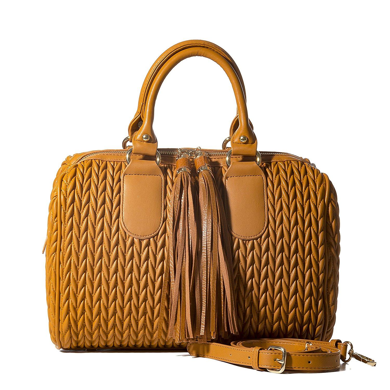 407372b5f2fe Get Quotations · Handbag Republic Womens Vegan PU Leather Top Handle Handbag  Tube Satchel Style Two Tassel Zipper Closure