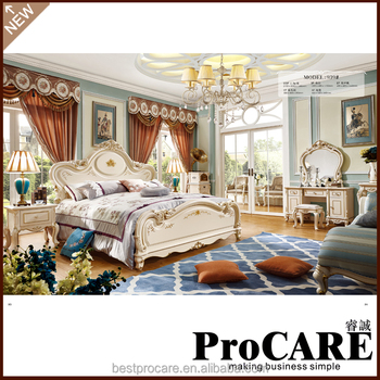noble new life classical style turquoise color bedroom furniture