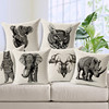 european vintage animal pattern elephant rhinoceros koala high quality linen cotton cushion covers,outdoor cushions