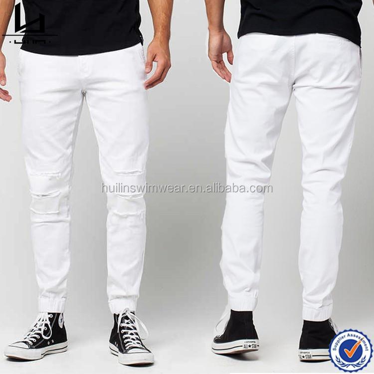 a110d09ee4f1 Commercio all'ingrosso glassa pantaloni bianchi rotti foro harem pants pantaloni  sportivi jogger nuovo moda