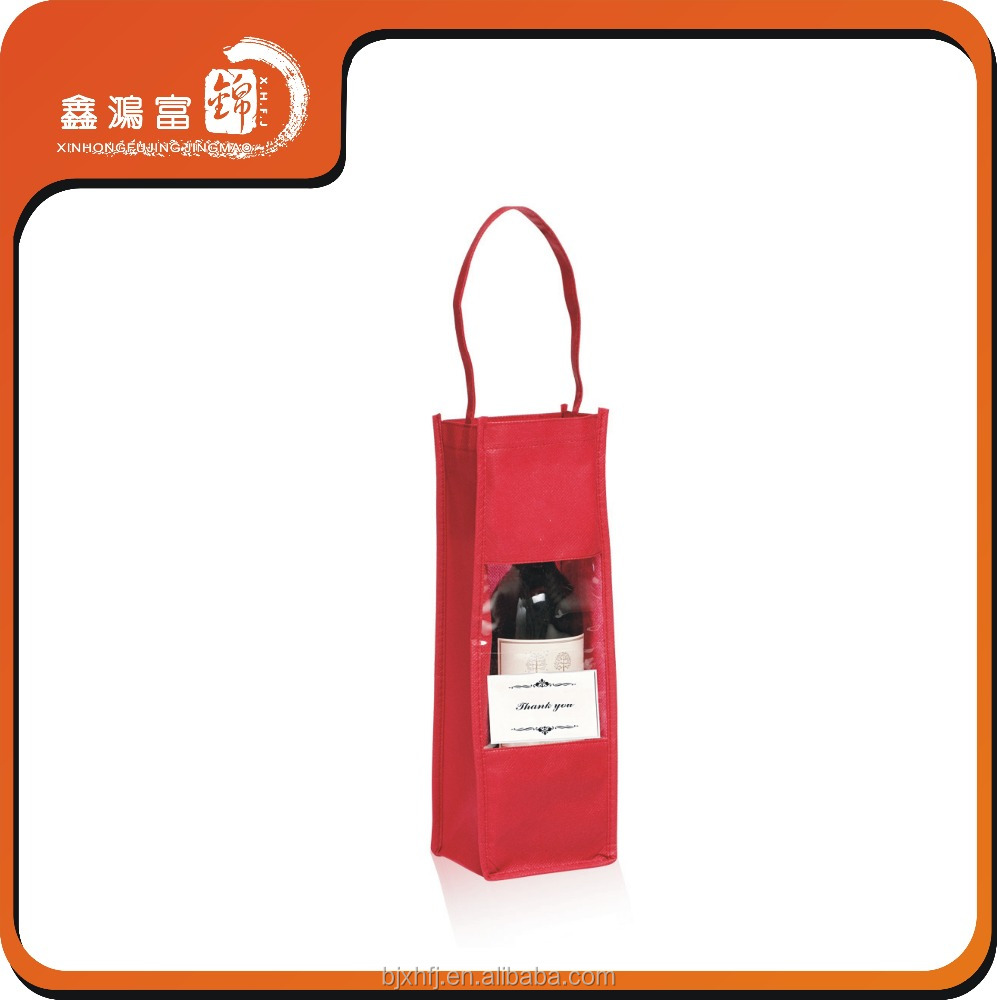Wholesale wine bags 1 bottle/cheap non woven wine bag/recycle cotton tote wine bag