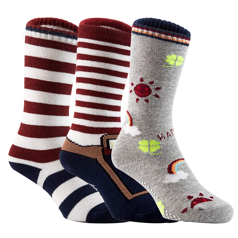 Lian LifeStyle Baby Children 3 Pairs Knee High Non-Skid Non-Slip Cotton Socks