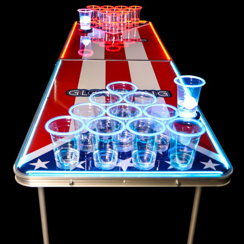 Newest aluminium Led Portable Beer Pong Table Folding Outdoor Beer Table