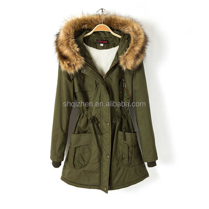 Latest fashion women fur parka ladies winter militery green color hoodie parka with fur military winter parka