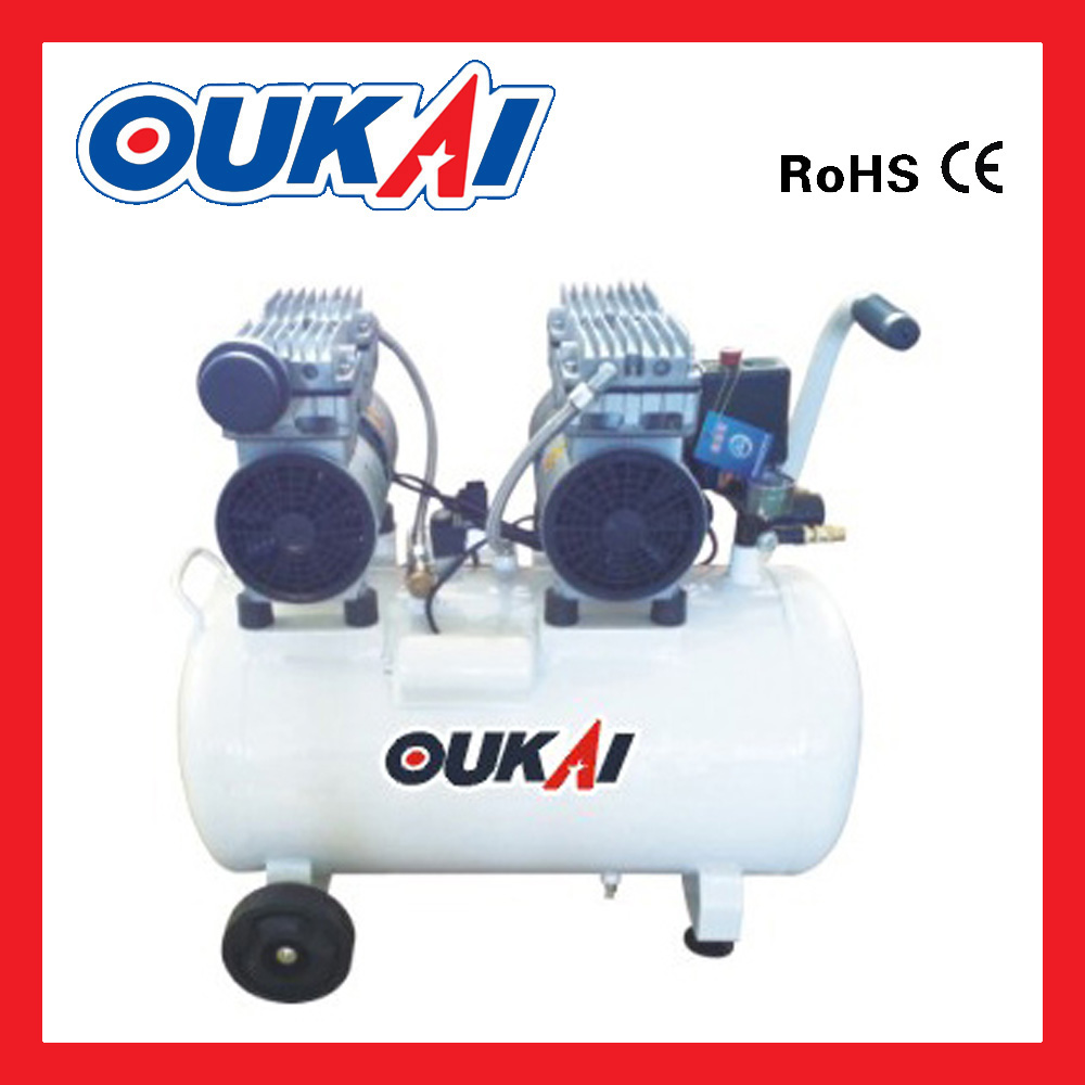 50L 2hp AC power piston portable mute silent low noise Two Motor Piston Oil Free Direct Driven Quiet Oil free Air Compressor