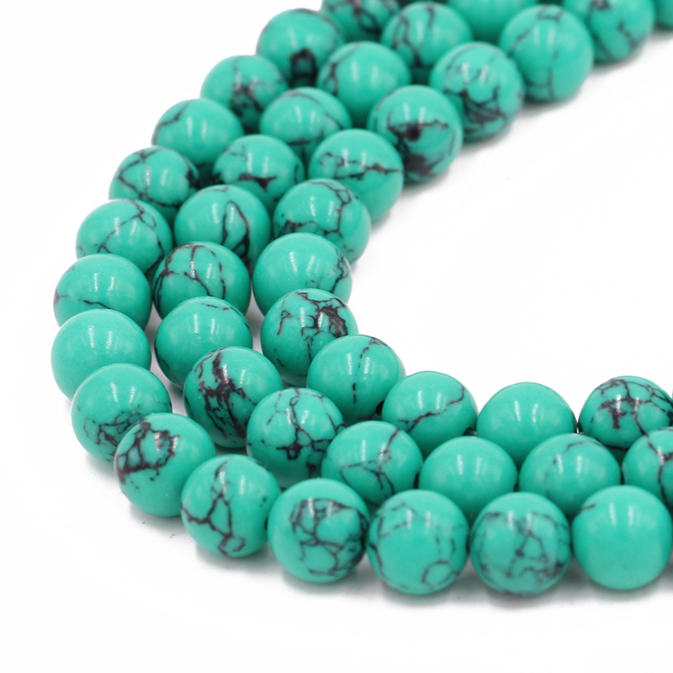 8 Mm Blanc Turquie Turquoise Loose Beads 15/""