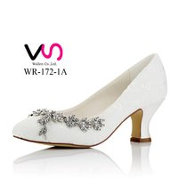 Nice lace Chunky heel bridal shoes for wedding WR-172-1A wedding dress party shoes bridal shoes