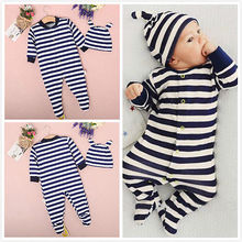0 24M Newborn Baby Boys Girls Clothes Long Sleeve Striped Cotto Footies and Hat 2PCS