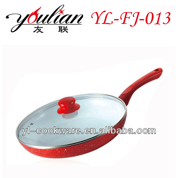 Aluminum White Ceramic Red Painting with white dots frying pan for Panama market