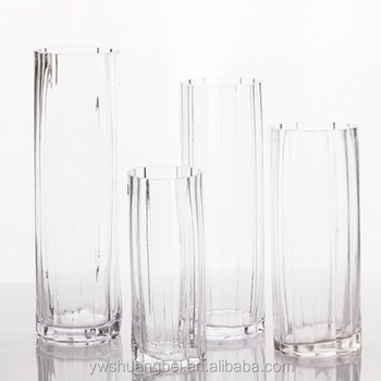 Clear Grained Glass Vase Tall Glass Stemmed Cylinder Vases Wholesale