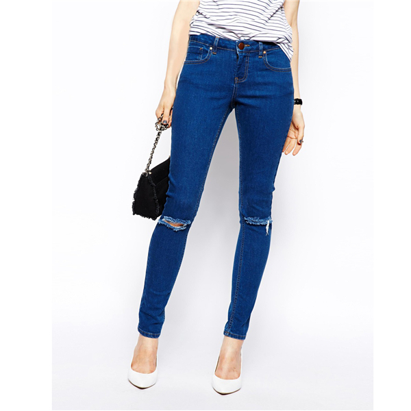 2017 Dark Wash Blue Women's Jeans Brands Ripped Jeans Women Skinny ...