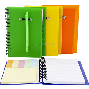 Spiral Notebook Cover Paper Steno Pocket Notepad with Pen in Holder, Sticky Notes and Page Marker Index Tabs Flags