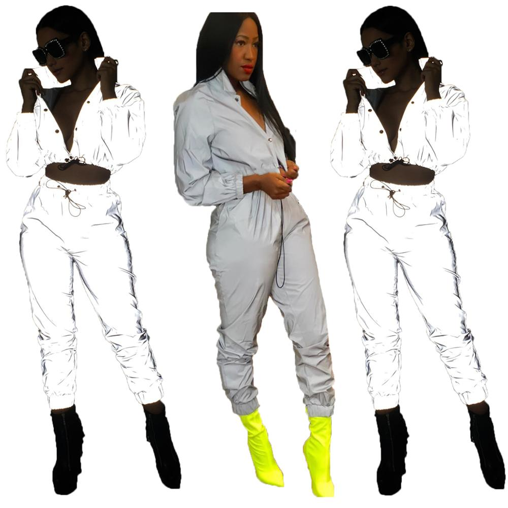 Wholesale MJ063  fashion solid top and pants boutique outfits reflective 2 piece set women