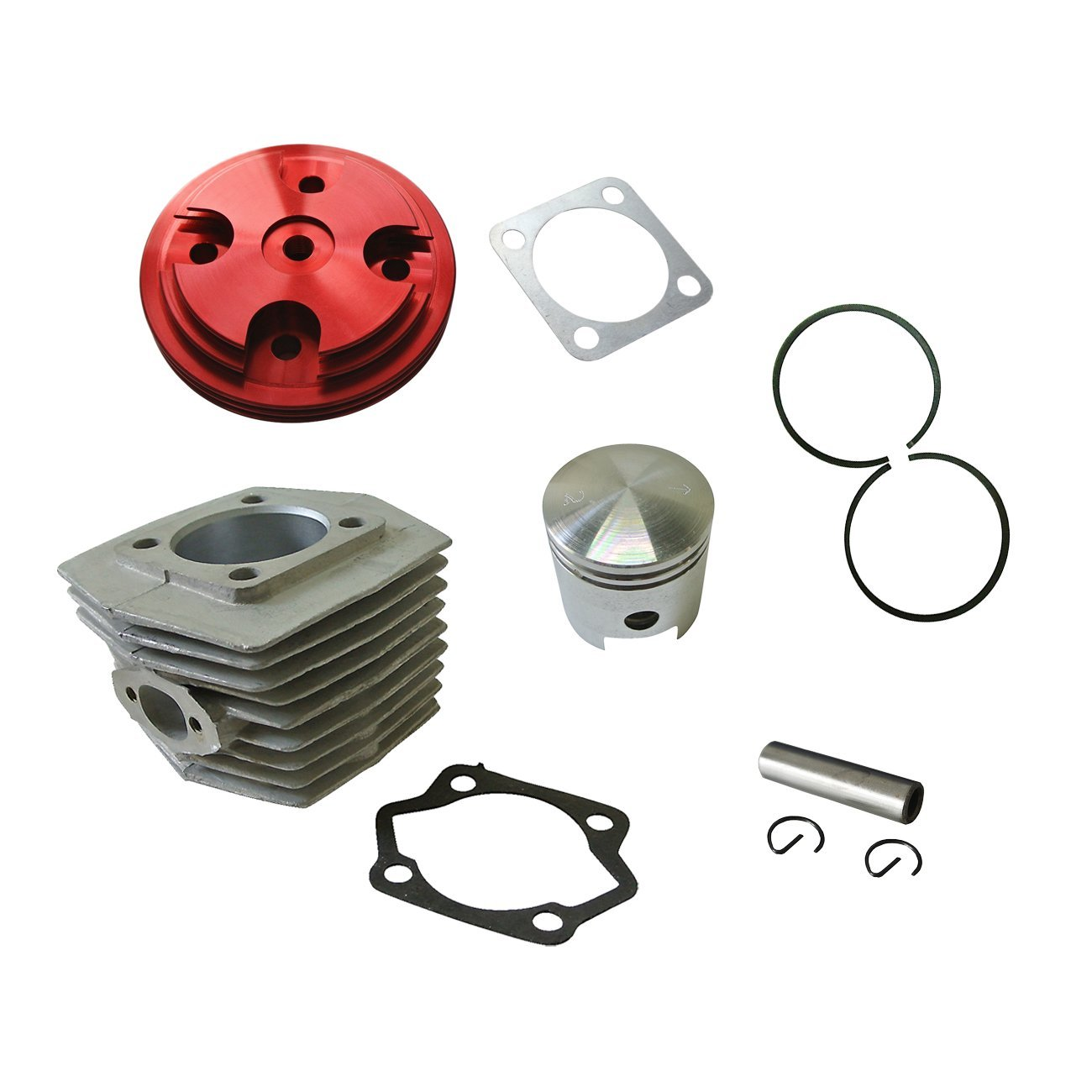 JRL CNC Red Cylinder Head Cover&Cylinder&Piston For 80cc Motorized Bike