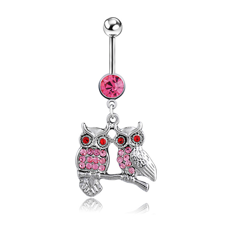 Anime Belly Button Ring Gold Owl Animal Fake Pendant Navel Piercing Body Jewelry