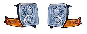 06 07 08 09 10 Jeep Commander Headlight Headlamp (With Halogen Bulbs) Pair Set Both Driver and Passenger