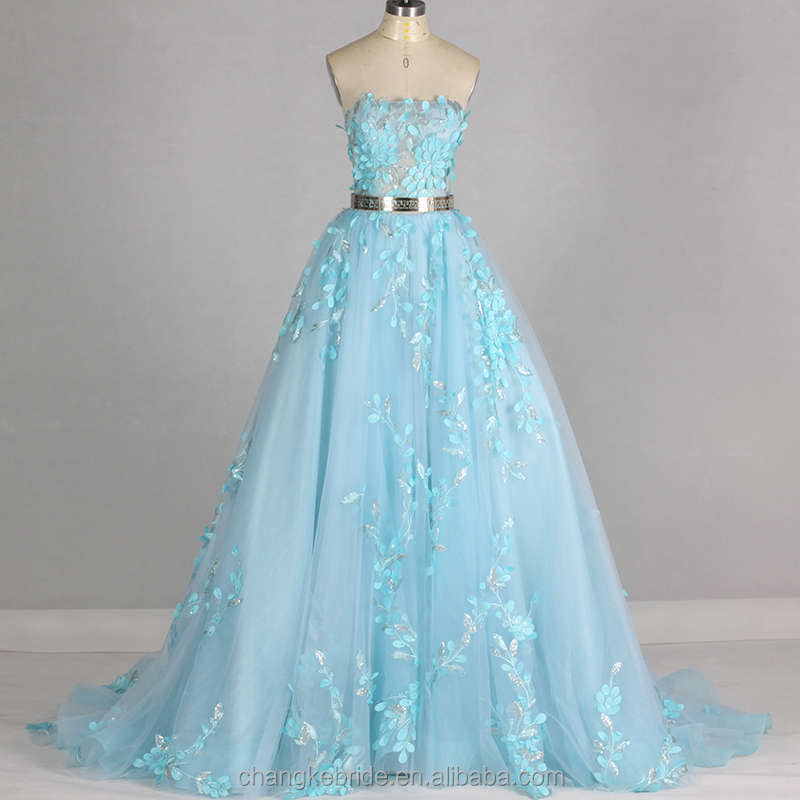 China Supplier Evening Dress A Line Real Photo Blue Lace Patterns Luxury Beading Evening Dress Chiristmas Party