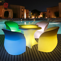 Plastic rotomolded LED light bar table illuminated outdoor bar furniture bar LED chairs and tables