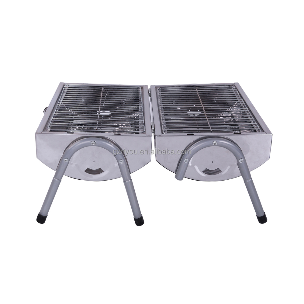 Portable Braai Stand Designs : Table stainless steel bbq grill lid lock portable and