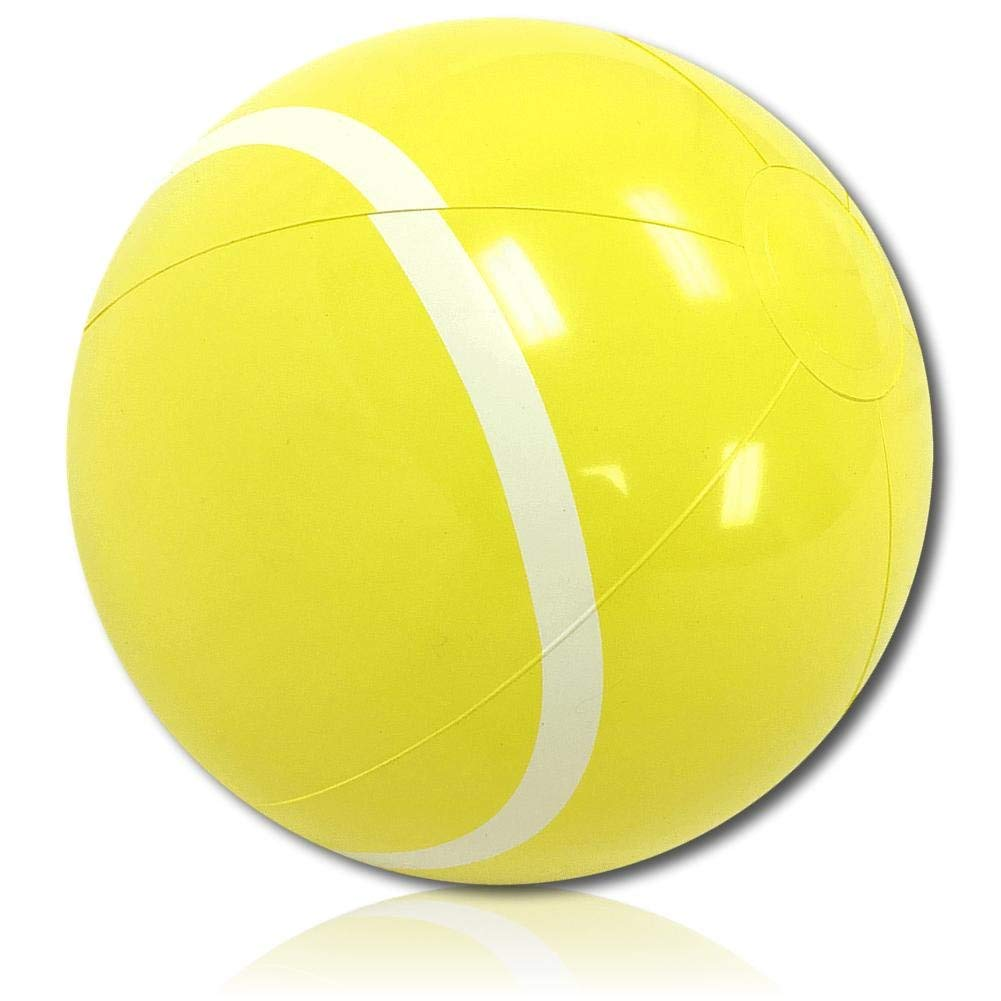 "ULTRA Durable & Custom {9"" Inch} One Single Small-Size Inflatable Beach Ball for Summer Fun, Made of Lightweight FLEX-Resin Plastic w/ Athletic Sports Game Tennis Ball Player Style {Yellow & White}"