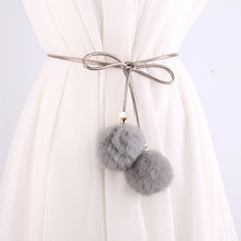 ZH1061A Fashion high quality lady belt with fur ball