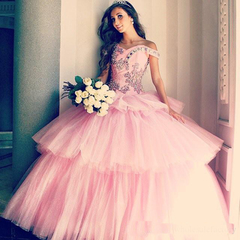 Pink Quinceanera Dresses Cap Sleeve Ball Gown Prom Gowns With ...