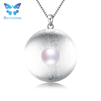 Hengsheng vintage round 100 original 925 sterling silver high hengsheng vintage round 100 original 925 sterling silver high quality pearl pendants with chain top aloadofball Images