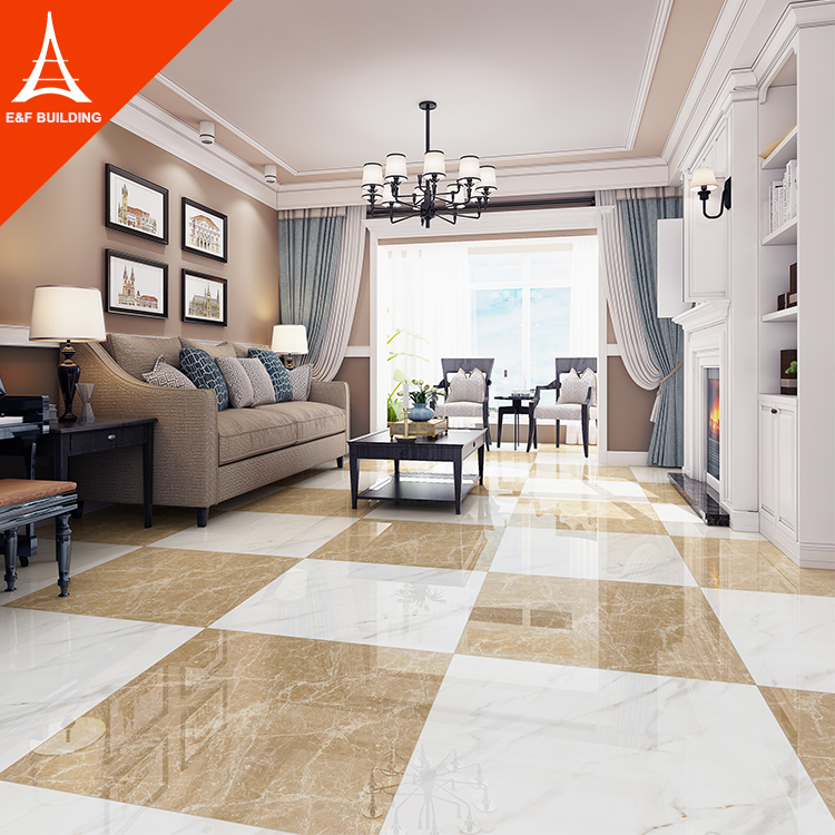 China Foshan New Arrival Ceramic Tile Khaki Sitting Room Vitrified