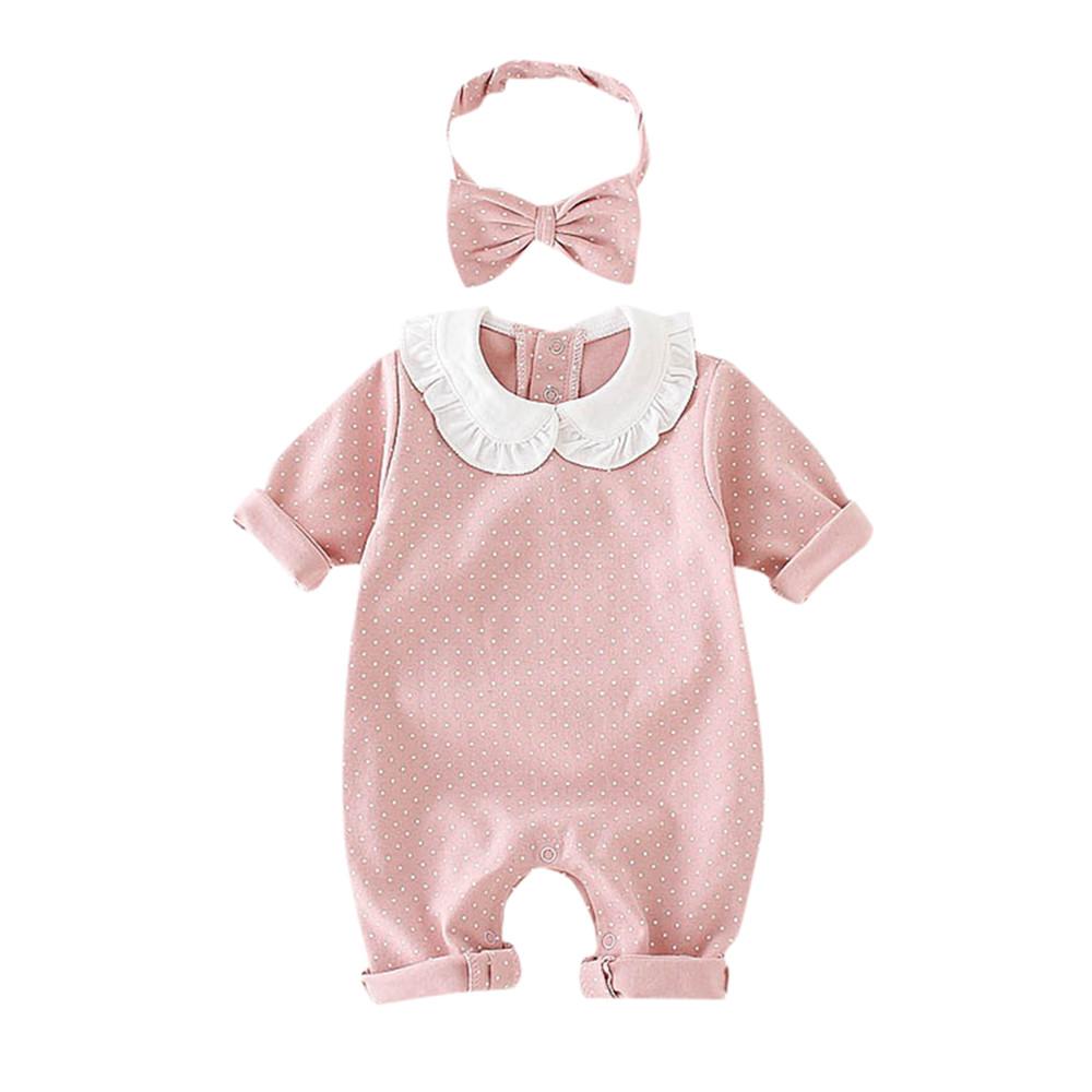 21c6b62a3 Recién Nacido bebé niña Polka Dot impresión manga larga Romper diadema ropa  trajes