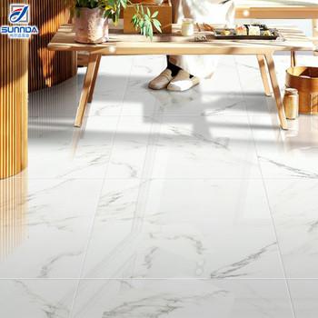 High End Hotel Lobby And Interior Marble Tiles Floor Design For White Cararra Glazed Porcelain