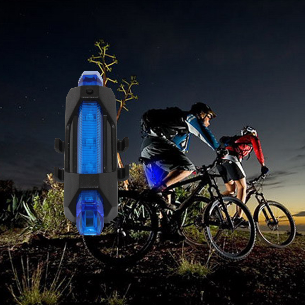 Black + Blue USB 5* LED Bicycle Light Bike Rear Flashlights Bycicle back Torch Lamp For Outdoors