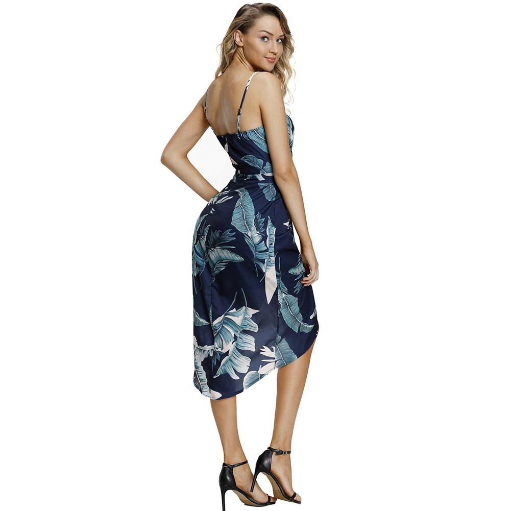 Deep V Neck Leaves and Floral Print Dresses For Sexy Women