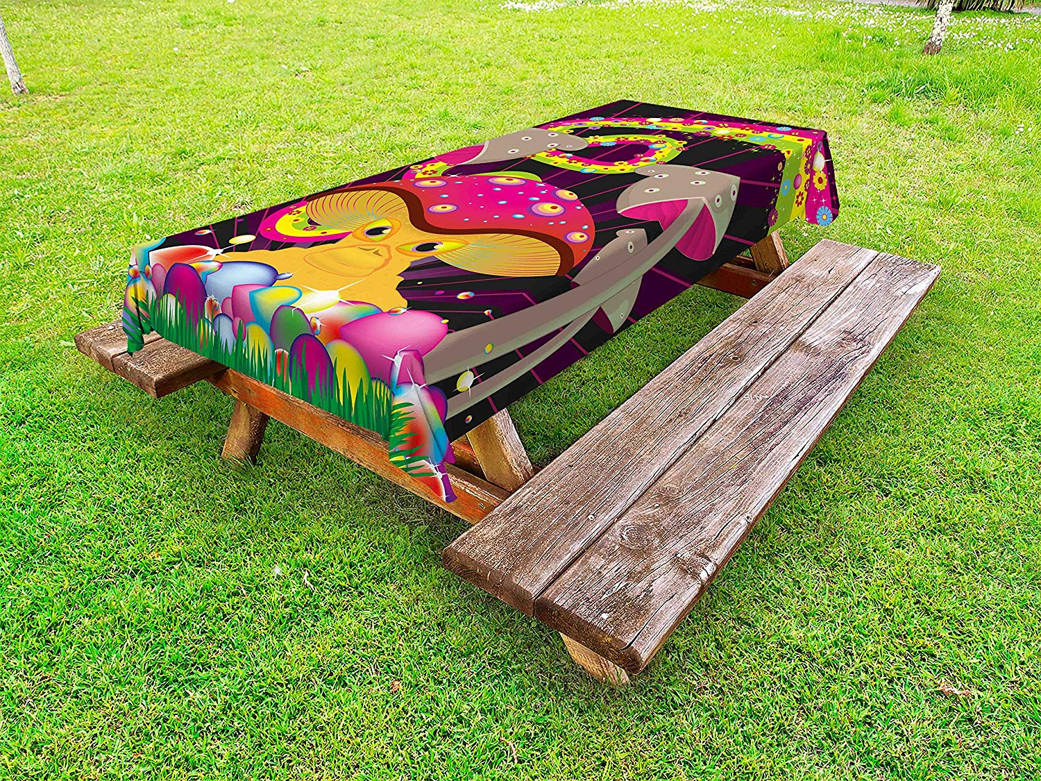 Lunarable Mushroom Outdoor Tablecloth, Vibrant Psychedelic Composition with Fantastic Mushroom Floral Rainbow Color Blots, Decorative Washable Picnic Table Cloth, 58 X 84 inches, Multicolor