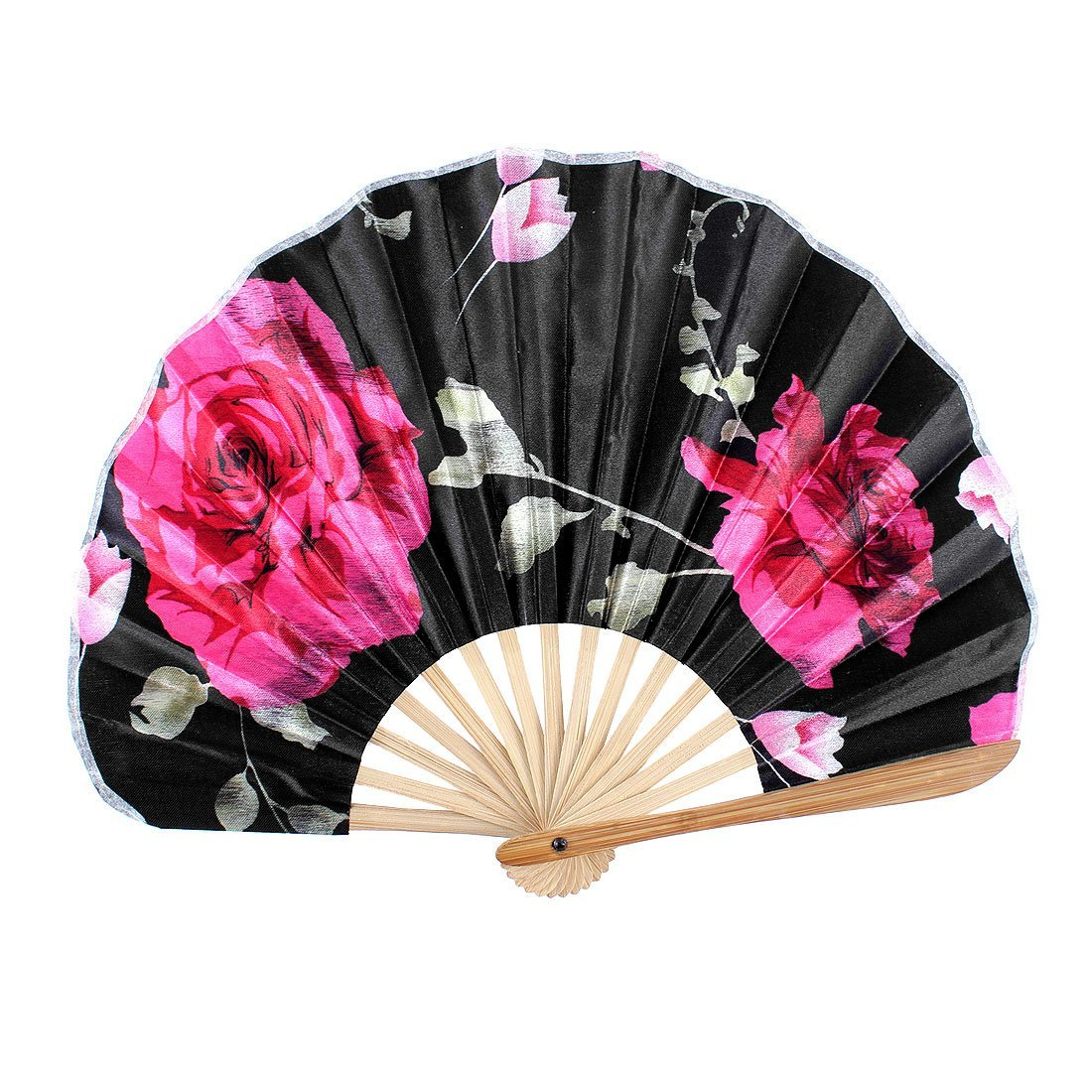 uxcell Wood Ribs Seashell Shape Rose Printed Folding Summer Hand Fan Black