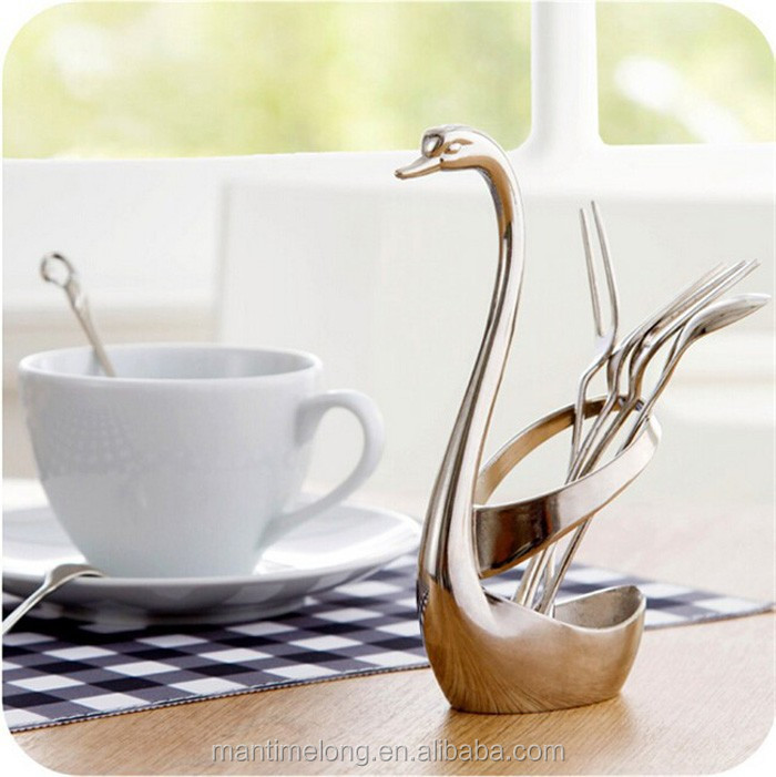 1 Set Swan Dinnerware 6 Forks Silver Holder Home Party Tableware Kitchen Set