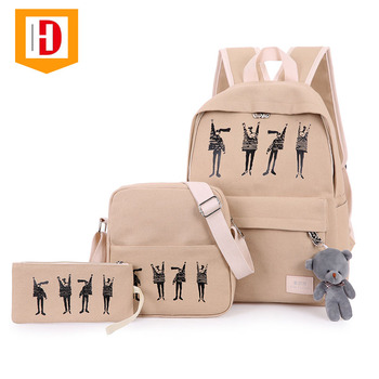759a163b4a Hot Selling Beige Nylon College Bags Girls Fashion Cheap School Bags For  Girls