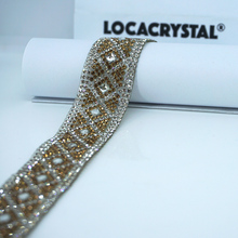 LOCACRYSTAL brand beauty bridal trim hot fix strass crystal chain crystal belts for clothing