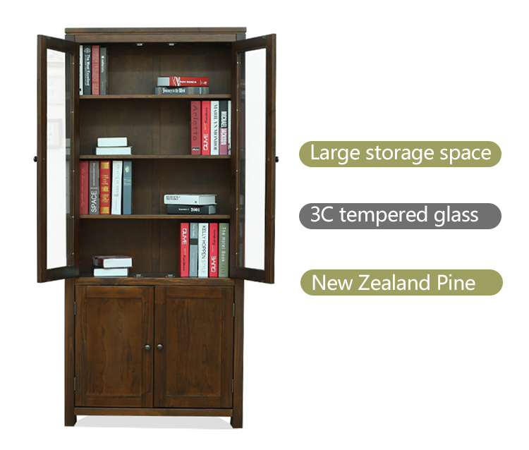 Wooden Study Room: Solid Wooden Bookcase Study Room Cabinet For Sale