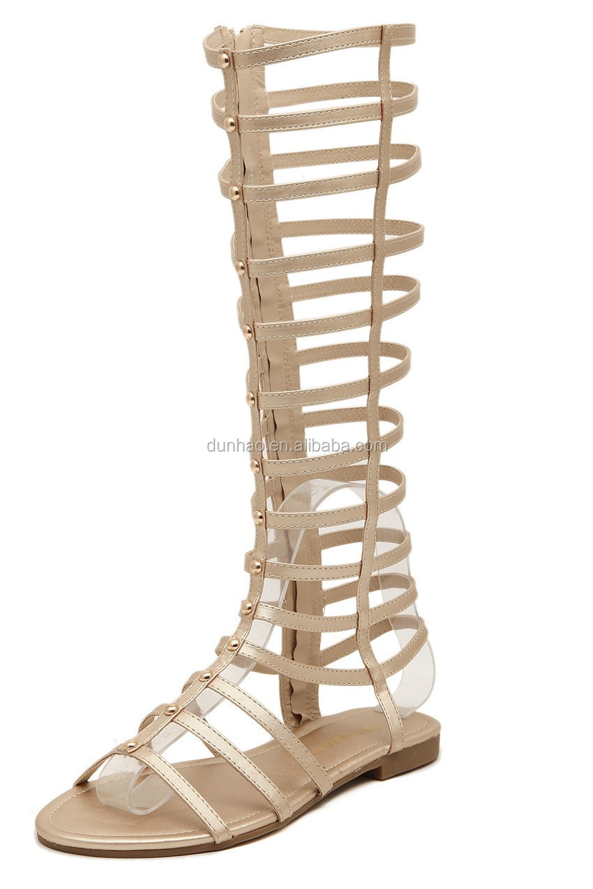 flat shoes summer knee high gladiator sandals boots