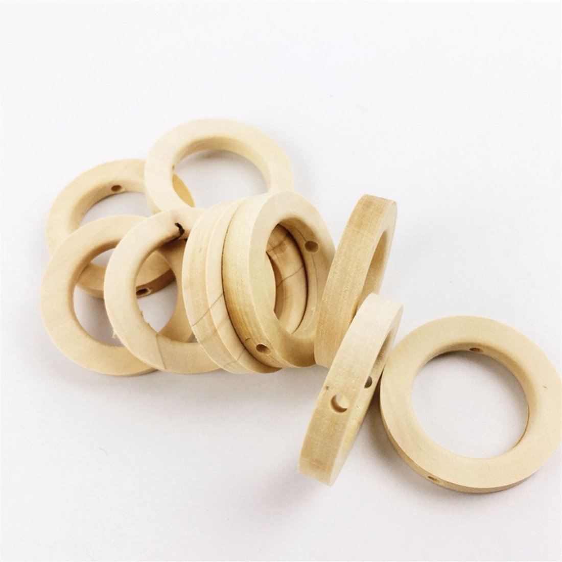 25pc Wooden Teether Baby Crib Toys Diy Crafts For Baby Nursing Necklace Wooden Rings Small Wood Beads